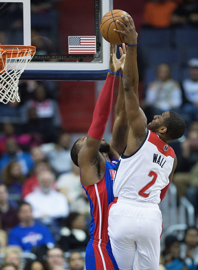 Video Wizards John Wall Gets Poster Payback With Dunk On Pistons Greg Monroe