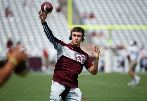 Manziel warms up before Sept. 2013 game against Alabama. (Scott Halleran/Getty Images)