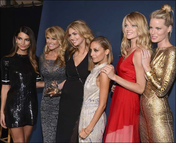 With (from left) Lily Aldridge, Christie Brinkley, Nicole Richie, Lindsay Ellingson and Caroline Winberg  ::  Getty Images