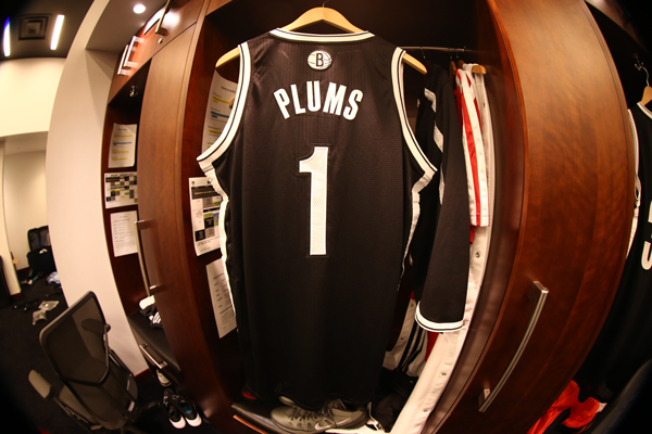 "Nets forward Mason Plumlee's ""Plums"" nickname jersey. (Nathaniel S. Butler/Getty Images)"