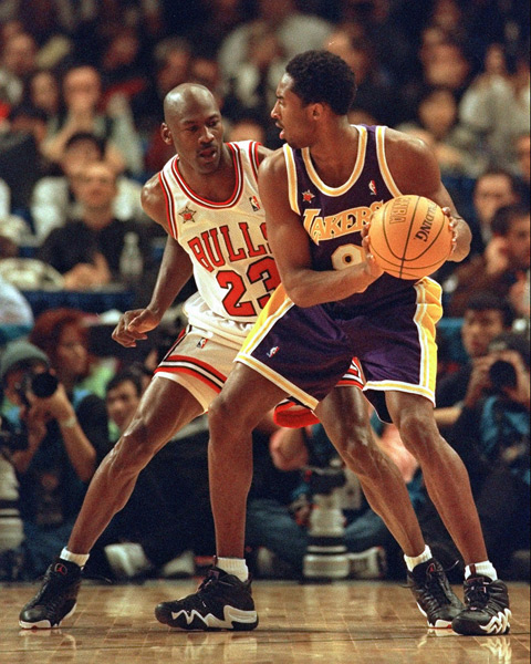 Michael Jordan and Kobe Bryant :: AP