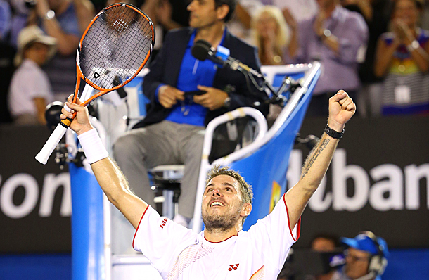 Stanislas Wawrinka becomes the first men's player outside of the Big Four to win a Grand Slam title since 2009.