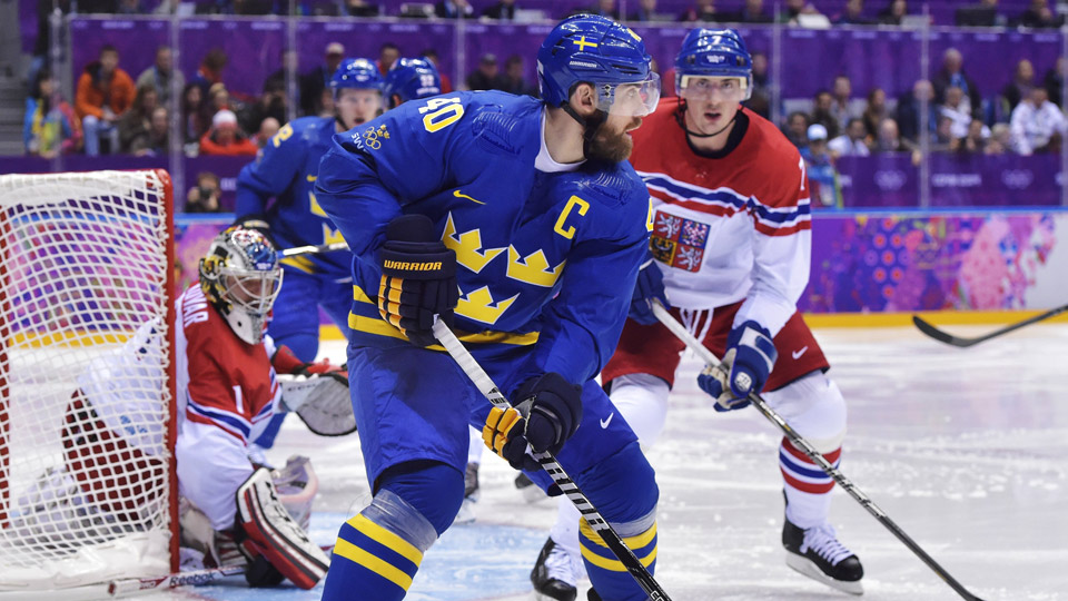 Henrik Zetterberg of Sweden skates against the Czech Republic during action at the Olympics in Sochi.