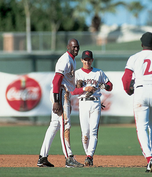 Michael Jordan and Nomar Garciappara :: V.J. Lovero/SI