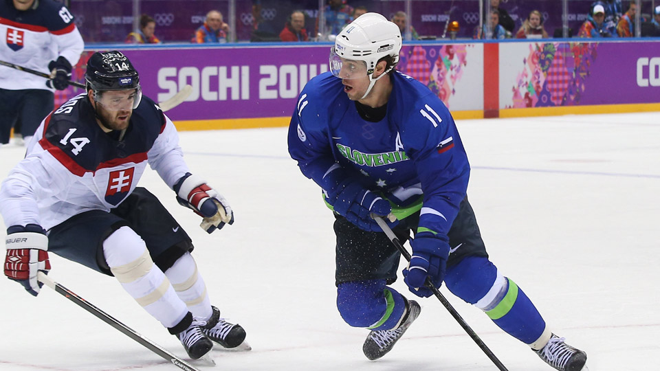 Anze Kopitar #11 of Slovenia handles the puck against Andrej Meszaros #14 of Slovakia in the second period during the Men's Ice Hockey Preliminary Round Group A game on day eight of the Sochi 2014 Winter Olympics.