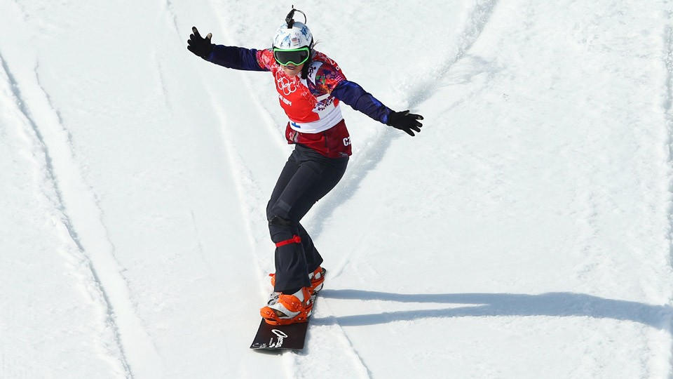 Eva Samkova of the Czech Republic celebrates winning her Ladies' Snowboard Cross Semifinal on day nine of the Sochi 2014 Winter Olympics at Rosa Khutor Extreme Park on February 16, 2014 in Sochi, Russia.
