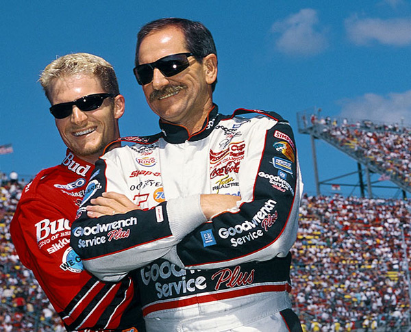 Dale Earnhardt and Dale Earnhardt Jr. :: George Tiedemann/SI