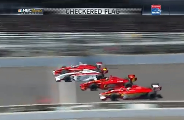 Peter Dempsey wins a four-way photo finish at the 2013 Firestone Indy Lights Freedom 100 by .0026 seconds. (YouTube)