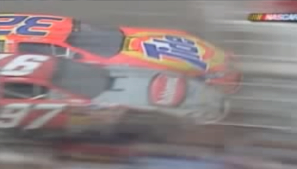 That's Ricky Craven .002 seconds ahead of Kyle Busch at Darlington in 2003.  (YouTube)