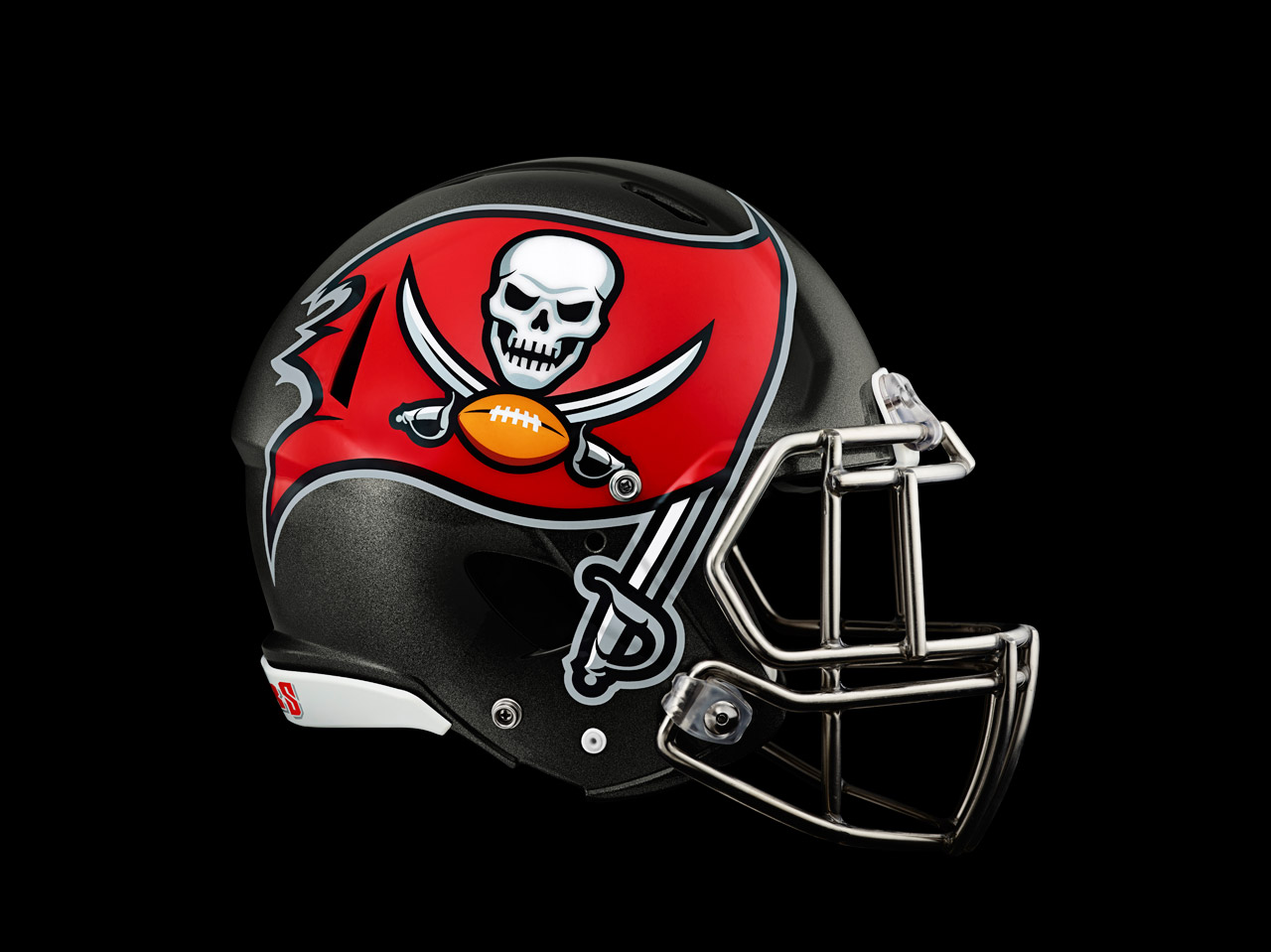 The new, enlarged Bucs' helmet logo