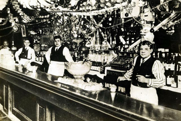 Babe Ruth and father tend bar in Baltimore. (John Durant/SI Picture Collection)