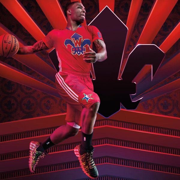 "Damian Lillard wearing the new ""Crazyquick 2"" sneakers by Adidas. (Adidas)"