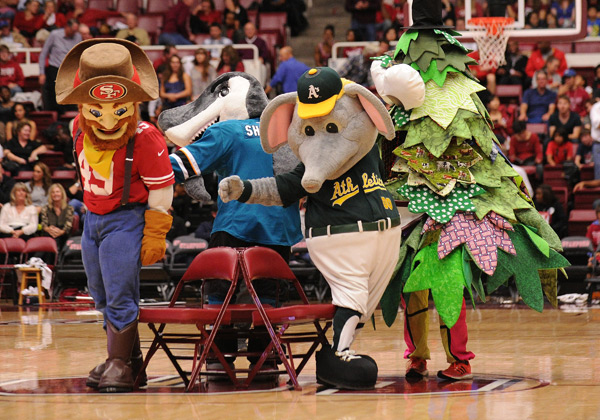 Playing musical chairs with other Bay Area mascots. (Tommy LaPorte/Icon SMI)