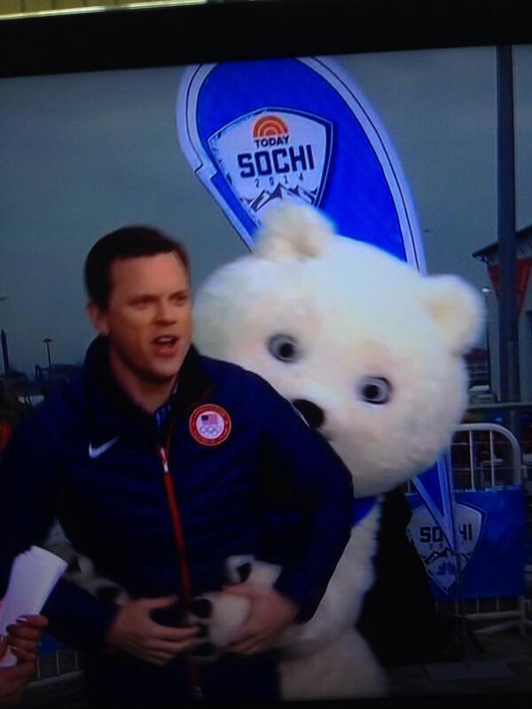 Nightmare Bear getting handsy with Willie Geist. (twitter @TheEvanConder)