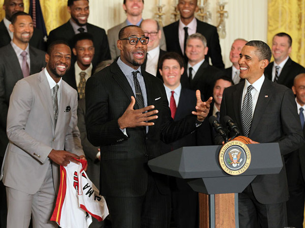 Miami Heat and Barack Obama (2013) :: Ned Dishman/NBAE via Getty Images