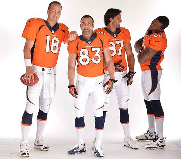 Peyton Manning, Wes Welker, Eric Decker, Damaryius Thomas :: Robert Beck/SI