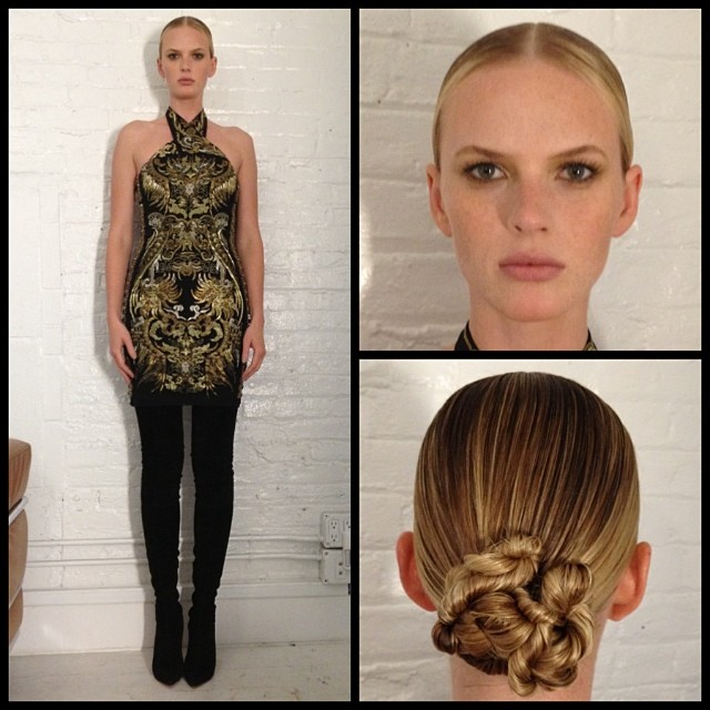 @annev_official: #TheFace episode 3 look. Campaign (Runway Dinner): dress @roberto_cavallishoes @louboutinworld #TeamAnneV #AnneVStyle
