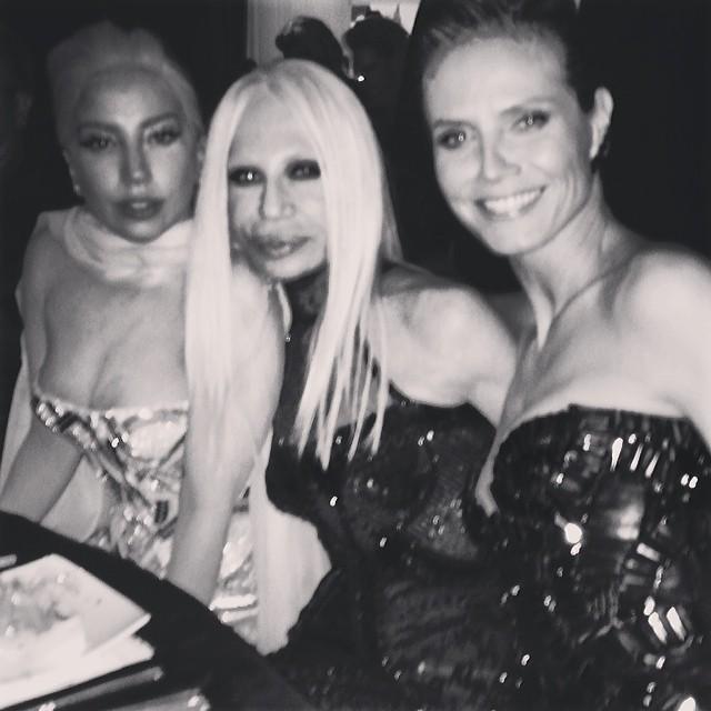 @heidiklum: Fun night with @versace_official & @ladygaga