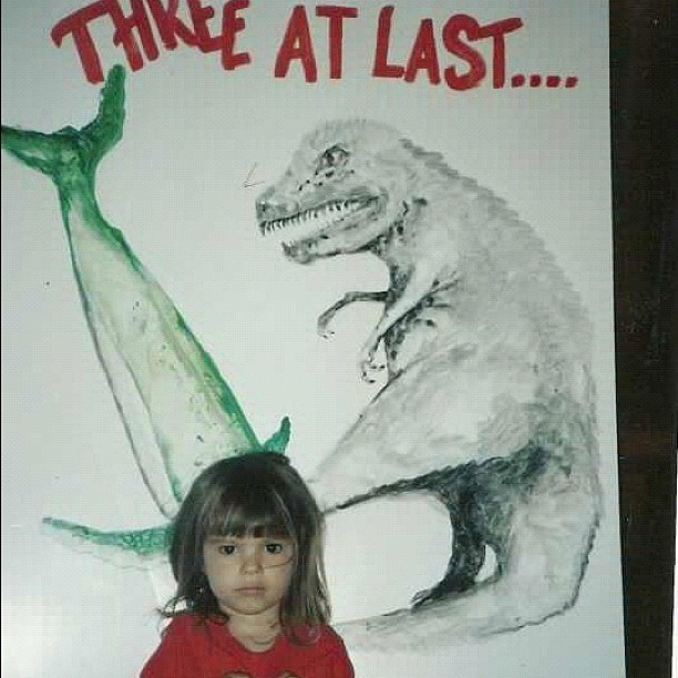9/20/2012 :: Little s--- three year old, birthday art by my papa (animals were my choice) #throwbackthursday
