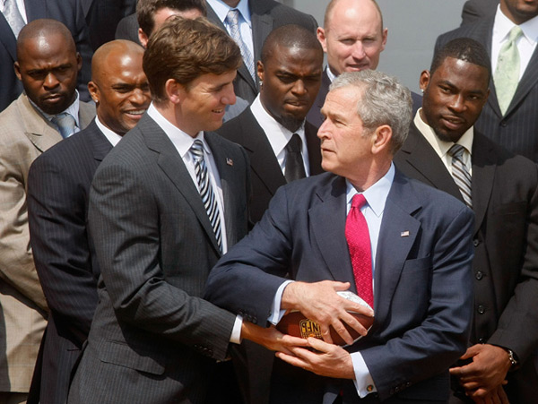 Eli Manning and George W. Bush :: Getty Images