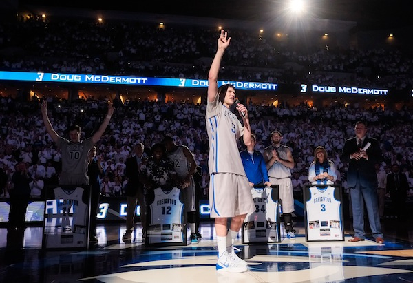 New 3,000 points club member Doug McDermott addresses Creighton fans. (Eric Francis/Getty Images)