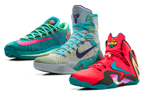 Nike's Elite Hero Collection of sneakers for, from left: Kevin Durant, Kobe Bryant and LeBron James. (Nike)