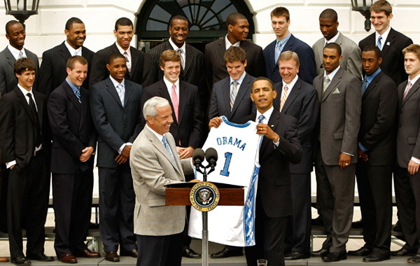 North Carolina Tar Heels and Barack Obama (2009) :: Getty Images