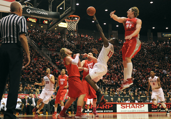 The Aztecs' Winston Shepard elevates during a furious second half comeback. (Getty Images)