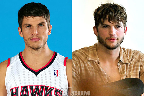 Kyle Korver and                            Ashton Kutcher :: Getty Images
