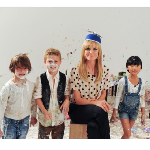 @heidiklum: Heute haben wir Besuch von kleinen Stars, die meine Mädchen ganz schön auf Trab halten! #GNTM