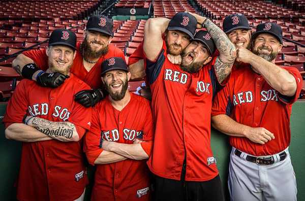 Mike Carp, Jonny Gomes, Dustin Pedroia, Ryan Dempster, Mike Napoli, Jarrod Saltalamacchia and Cody Ross :: Michael LeBrecht/SI