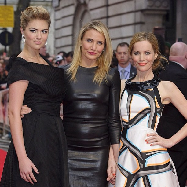 @kateupton Great time in London last night! #theotherwoman @camerondiaz #lesliemann @tracymurphymua @peterbutlerhair