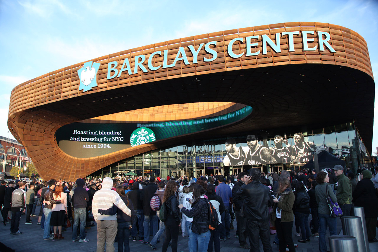 Barclays Center's exterior  (Photo by Reid B. Kelley/NBAE via Getty Images).