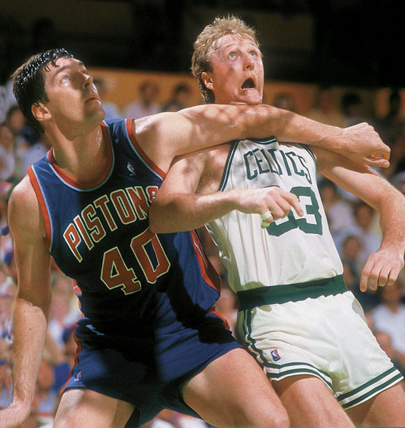 Bill Laimbeer and Larry Bird :: Jerry Wachter/SI