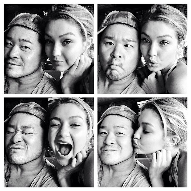 @allanface: Happy birthday to my beautiful lovely li'l sis @gigihadid! #WBW photos from our first job together - love at first sight.  #birthdaygirl #gigihadid #littlesister#bff #soproud #loveyou