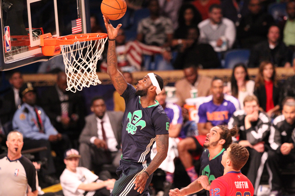 LeBron James wore a blue short-sleeve jersey during the 2014 All-Star Game. (Bruce Yeung/Getty Images)