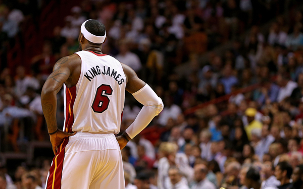 """LeBron James wore a """"King James"""" nickname jersey. (Mike Ehrmann/Getty Images Sport)"""