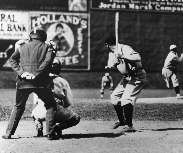 Babe Ruth New York Yankees Outfielder Readies To Swing During A Game Against The