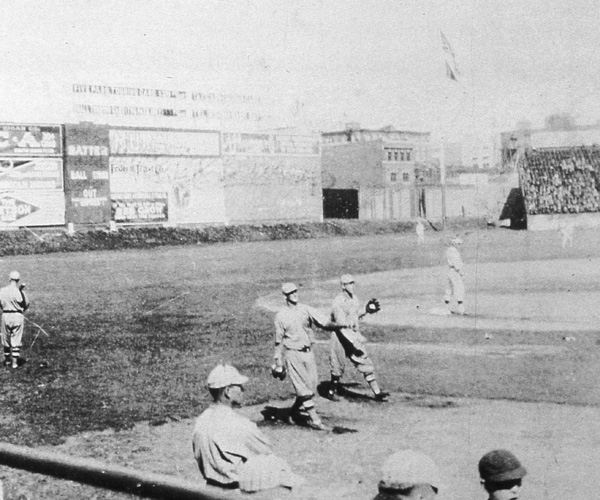 Warm up activity in left field before a 1918 World Series contest in October in Fenway Park in Boston.  In the background is the famous left field wall.  (Photo by Mark Rucker/Transcendental Graphics, Getty Images)