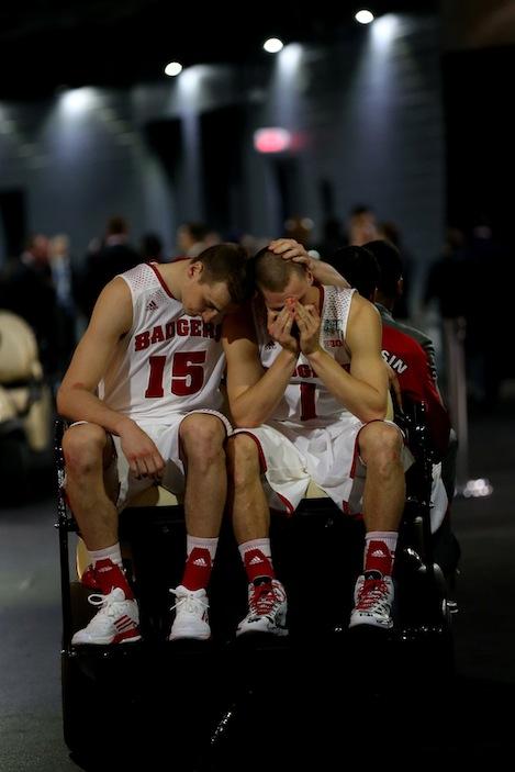 Heartbreak. Wisconsin's Sam Dekker and Ben Brust.  (Getty Images)