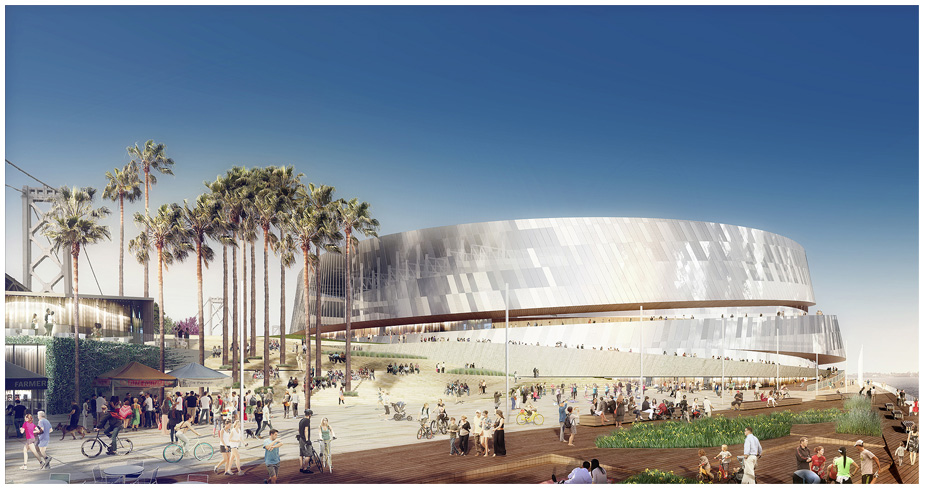Renderings of a planned new Golden State arena on the San Francisco waterfront
