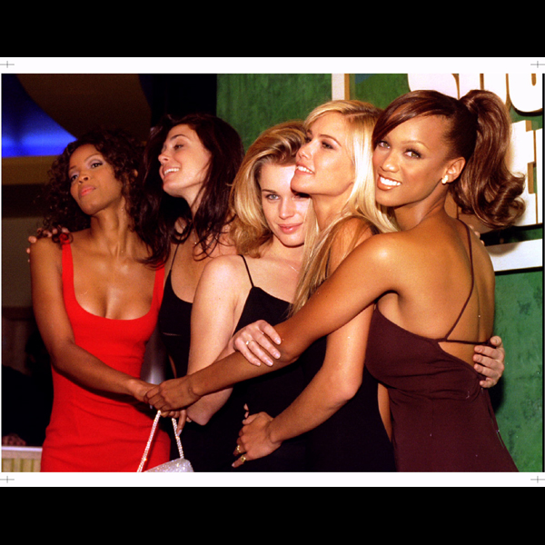 With (from left) Georgiana Robertson, Rebecca Romijn, Valeria Mazza, Tyra Banks, 1996 :: Reuters