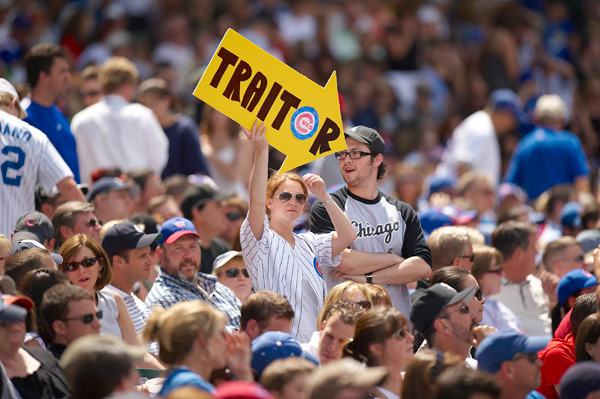A Cubs fan keeps the crosstown rivalry brewing with this sign. (John Biever/SI)