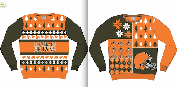 Cleveland Browns Christmas Sweater.Ranking The Nfl S New Ugly Sweaters Si Com