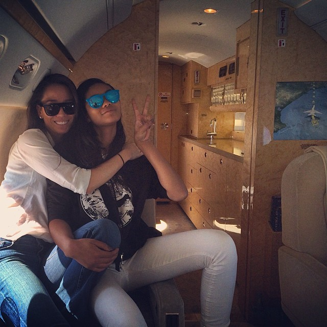 This is what traveling (home from Ibiza, mind you) looks like when you are Chanel Iman