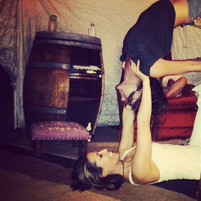 Josie Maran (@josiemarancosmetics) practices her acro yoga/shows me how to do something I will never, ever, ever be able to do