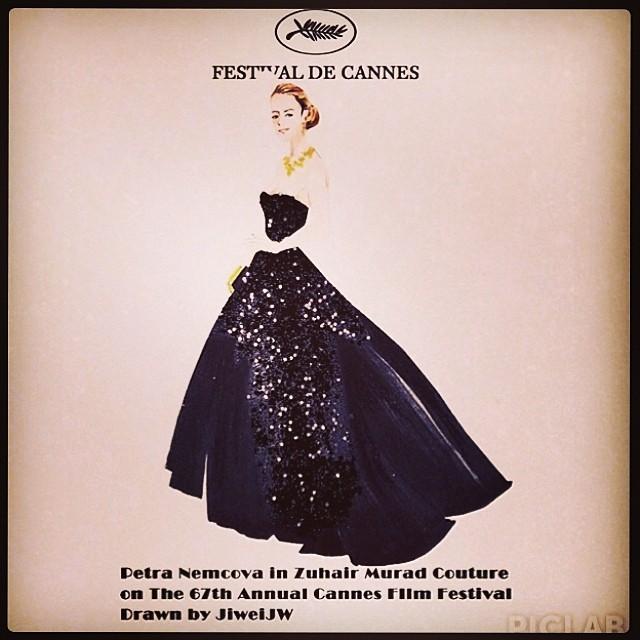 @pnemcova's Cannes dress was so striking it inspired some fan art from @jiweijw