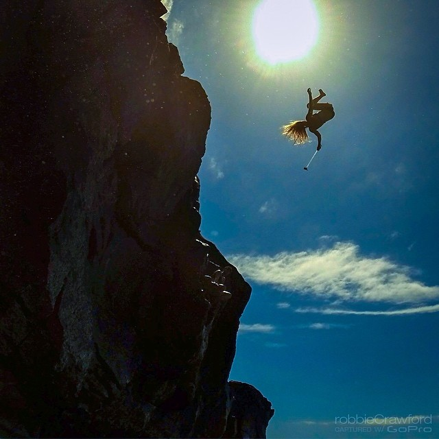 @HannahTeter performs the craziest cliff dive ever caught on Instagram, or so I assume