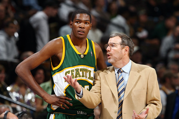 Kevin Durant and P.J. Carlesimo :: Getty Images