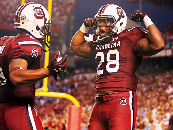 South Carolina's Mike Davis (28) rushed for 1,183 yards and 11 TDs last season.